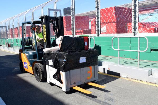 Forklift truck and freight.Formula One World Championship, Rd1, Australian Grand Prix, Preparations, Albert Park, Melbourne, Australia, Sunday 9 March 2014.
