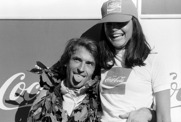 Race winner Jacques Laffite (FRA) Ligier celebrates on the podium. Argentinean Grand Prix, Rd 1, Buenos Aires, Argentina, 21 January 1979.