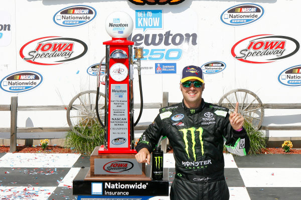 16-18 May, 2014, Newton, Iowa USA Sam Hornish Jr, Monster Energy Toyota Camry celebrates in victory lane ©2014, Russell LaBounty LAT Photo USA