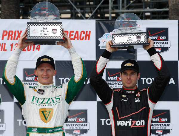 11-13 April, 2014, Long Beach, California, USA Mike Conway and Will Power in victory lane © 2014, Michael L. Levitt LAT Photo USA