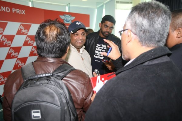 Tony Fernandes (MAL), CEO AirAsia Group, was in demand for interviews.AirAsia Signs As Title Sponsor for 2010 MotoGP British Grand Prix, Silverstone, England, Wednesday 10 February 2010.