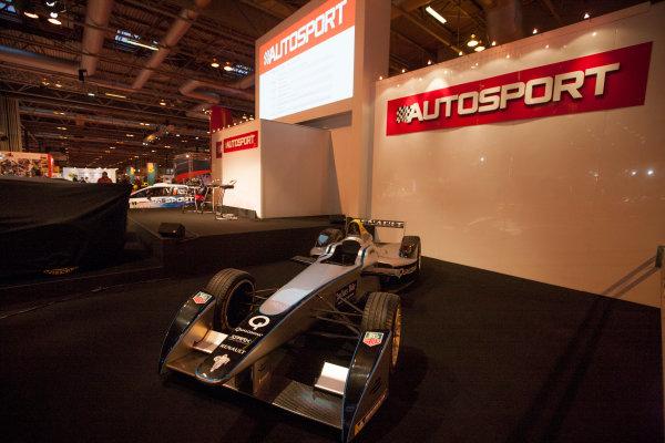 Autosport International Exhibition. National Exhibition Centre, Birmingham, UK. Thursday 8 January 2015. Formula E Car on the Autosport Stage World Copyright: Zak Mauger/LAT Photographic. ref: Digital Image _P7T0013