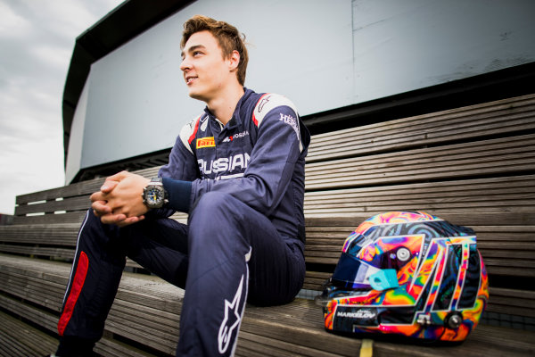 2017 FIA Formula 2 Round 6. Silverstone, Northamptonshire, UK. Thursday 13 July 2017. Artem Markelov (RUS, RUSSIAN TIME).  Photo: Zak Mauger/FIA Formula 2. ref: Digital Image _56I6310