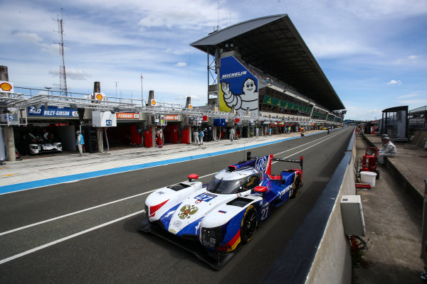 2017 Le Mans 24 Hours Test day, Le Mans, France. 4th June 2017. #27 SMP Racing Dallara P217-Gibson: Mikhail Aleshin, Sergey Sirotkin, Victor Shaytar. World Copyright: JEP/LAT Images.
