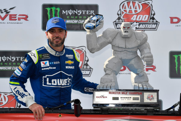 Monster Energy NASCAR Cup Series AAA 400 Drive for Autism Dover International Speedway, Dover, DE USA Sunday 4 June 2017 Jimmie Johnson, Hendrick Motorsports, Lowe's Chevrolet SS in victory lane World Copyright: Logan Whitton LAT Images ref: Digital Image 17DOV1LW3880