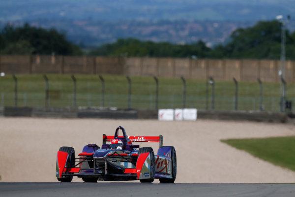 FIA Formula E Test Day, Donington Park, UK.  9th - 10th July 2014.  Jaime Alguersuari, Virgin Racing. Photo: Sam Bloxham/FIA Formula E ref: Digital Image _SBL1245