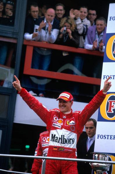 2004 Belgian Grand Prix.Spa Francorchamps, Belgium. 27th - 29th August.Michael Schumacher, Ferrari F2004 celebrates taking his seventh Formula one world championship.World Copyright:LAT PhotographicRef:35mm Image A24