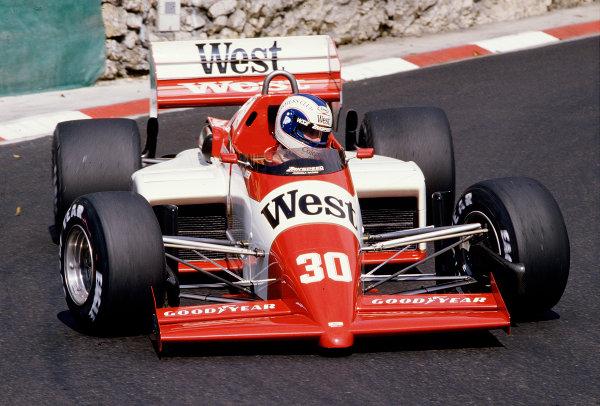 1985 Monaco Grand Prix.Monte Carlo, Monaco.16-19 May 1985.Jonathan Palmer (Zakspeed 841) 11th position.Ref-85 MON 51.World Copyright - LAT Photographic