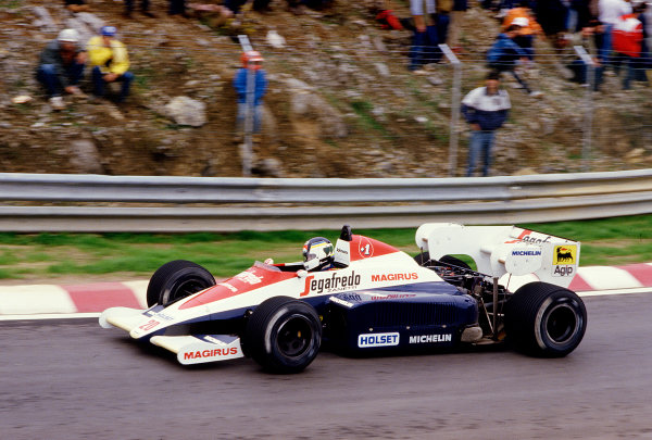 1984 Portuguese Grand Prix.Estoril, Portugal.19-21 October 1984.Stefan Johansson (Toleman TG184 Hart) 11th position.Ref-84 POR 37.World Copyright - LAT Photographic