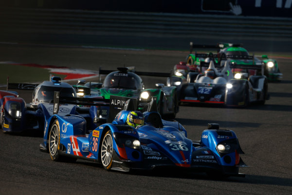 2015 FIA World Endurance Championship Bahrain 6-Hours Bahrain International Circuit, Bahrain Saturday 21 November 2015. Nelson Panciatici, Paul Loup Chatin, Tom Dillmann (#36 LMP2 Signatech Alpine Alpine A450B Nissan) leads Mikhail Aleshin, Nicolas Minassian, David Markozov (#44 LMP2 AF Racing BR01 Nissan) and Scott Sharp, Ryan Dalziel, David Heinemeier-Hansson (#30 LMP2 Extreme Speed Motorsports Ligier JS P2 Honda). World Copyright: Alastair Staley/LAT Photographic ref: Digital Image _79P0164