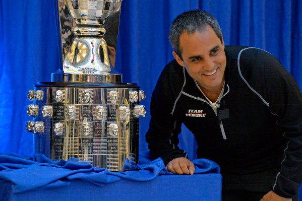 9 December, 2015, Indianapolis, Indiana USA 2015 Indianapolis 500 winner Juan Pablo Montoya poses with the Borg-Warner Trophy after the the unveiling of his likeness. ?2015, F. Peirce Williams LAT Photo USA