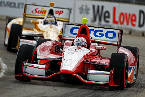 1-3 June, 2012, Detroit, Michigan, USAEJ Viso leads Ryan Hunter-Reay.(c)2012, Phillip G. AbbottLAT Photo USA