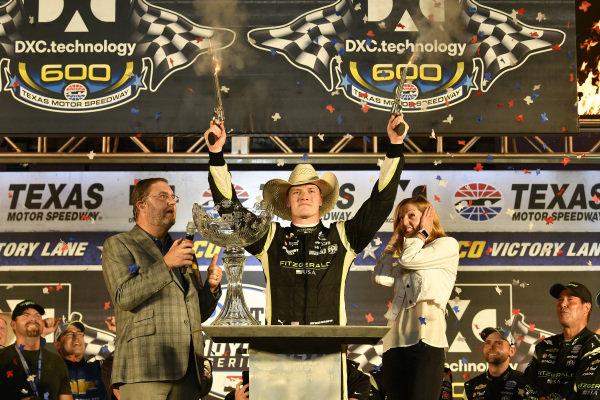 Josef Newgarden, Team Penske Chevrolet celebrates the win in victory with six-guns