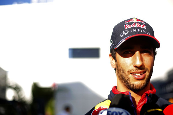 Daniel Ricciardo (AUS) Red Bull Racing. Formula One World Championship, Rd16, Russian Grand Prix, Preparations, Sochi Autodrom, Sochi, Krasnodar Krai, Russia, Thursday 9 October 2014. BEST IMAGE