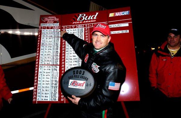 2003 NASCAR-Las Vegas, Nevada ,March 01-03, 2003Bobby Labonte pointing to his winning pole speed,World Copyright -ImageTech 2003LAT Photographic-ref: digital image