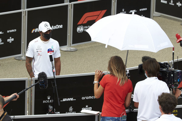 Lewis Hamilton, Mercedes-AMG Petronas F1, is interviewed after practice