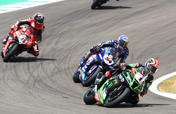 Jonathan Rea, Kawasaki Racing Team leads.