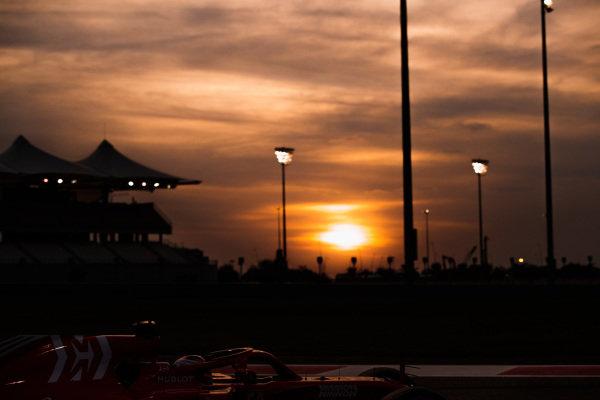 Charles Leclerc, Ferrari SF71H, at sunset.