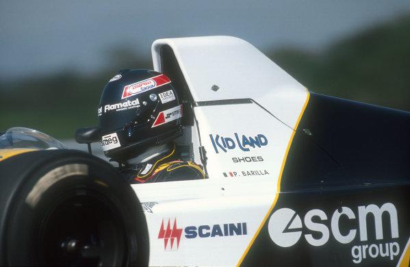 1990 Hungarian Grand Prix.Hungaroring, Budapest, Hungary.10-12 August 1990.Paolo Barilla (Minardi M190 Ford) 15th position.Ref-90 HUN 07.World Copyright - LAT Photographic