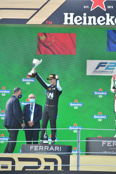 Guanyu Zhou (CHN, Uni-Virtuosi Racing), 2nd position, with his trophy on the podium