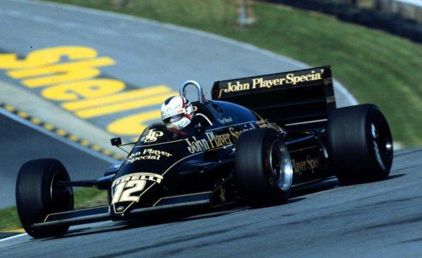 1983 European Grand Prix.Brands Hatch, England.23-25 September 1983.Nigel Mansell (Lotus 94T Renault) 3rd position.World Copyright - LAT Photographic