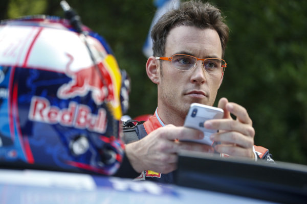 Hyundai's Thierry Neuville gets himself ready for Rally Finland