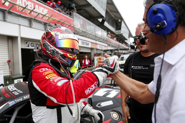 Tony Bates (AUS) Tony Bates Racing celebrates in parc ferme at Audi R8 LMS Cup, Rd1 and Rd2, Adelaide, Australia, 2-4 March 2018.