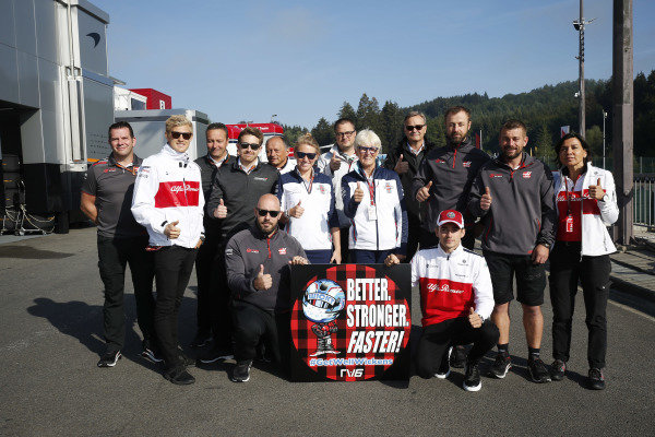 F1 team personnel arrange a Robert Wickens get well soon message. Peter Crolla, Marcus Ericsson, Alfa Romeo Sauber C37, Emmanuel Esnault, Frederic Vasseur, Team Principal, Sauber, Anne Bradshaw and Charles Leclerc, Alfa Romeo Sauber F1 Team, are among the well-wishers.