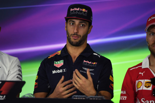 Daniel Ricciardo (AUS) Red Bull Racing in the Press Conference at Formula One World Championship, Rd1, Australian Grand Prix, Preparations, Albert Park, Melbourne, Australia, Thursday 23 March 2017.