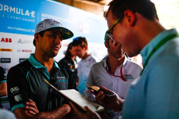 Nelson Piquet Jr. (BRA), Panasonic Jaguar Racing talks to the press