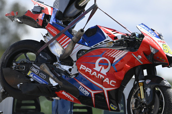 Tito Rabat, Pramac Racing crashed bike.
