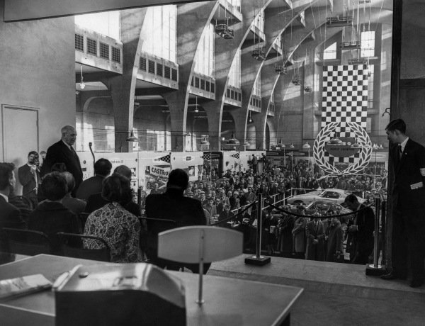 Earl Howe opens the second Racing Car Show organised by the BRSCC.