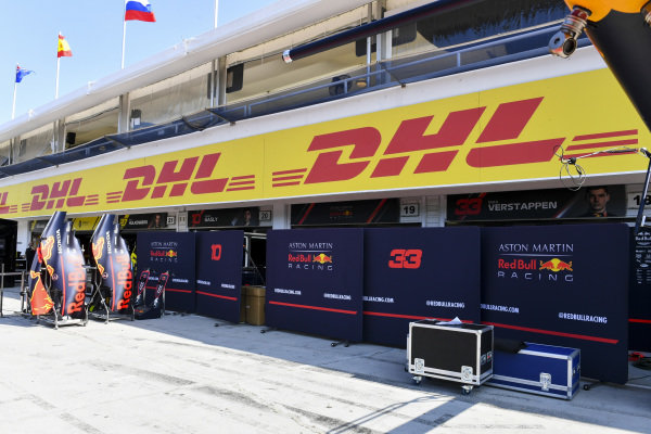 Red Bull Racing boarding in the pit lane