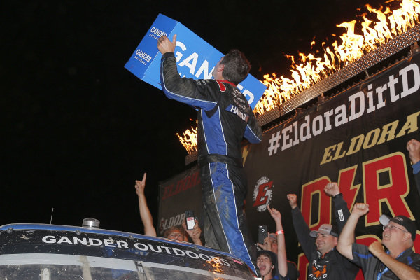 #52: Stewart Friesen, Halmar Friesen Racing, Chevrolet Silverado Halmar International celebrates in victory lane