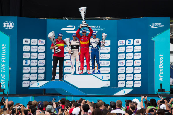 2015/2016 FIA Formula E Championship. Putrajaya ePrix, Putrajaya, Malaysia. Saturday 7 November 2015. Podium Lucas Di Grassi (BRA), ABT Audi Sport FE01, Sam Bird (GBR), DS Virgin Racing DSV-01 & Robin Frijns (NLD), Andretti - Spark SRT_01E on the podium Photo: Sam Bloxham/FIA Formula E/LAT ref: Digital Image _SBL1305
