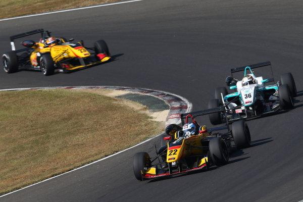 2015 Japanese Formula 3 Championship.  Sugo, Japan. 17th - 18th October 2015. Rd 16 & 17. Rd.17 2nd position Lucas Ordonez ( #22 B-MAX NDDP F3 ) action World Copyright: Masahide Kamio/LAT Photographic ref: Digital Image 2015JF3_Rd16&17_11