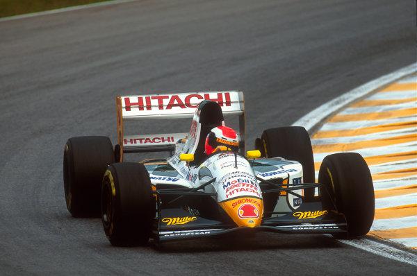 Interlagos, Sao Paulo, Brazil.25-27 March 1994.Johnny Herbert (Lotus 107C Mugen-Honda) 7th position.Ref-94 BRA 03.World Copyright - LAT Photographic