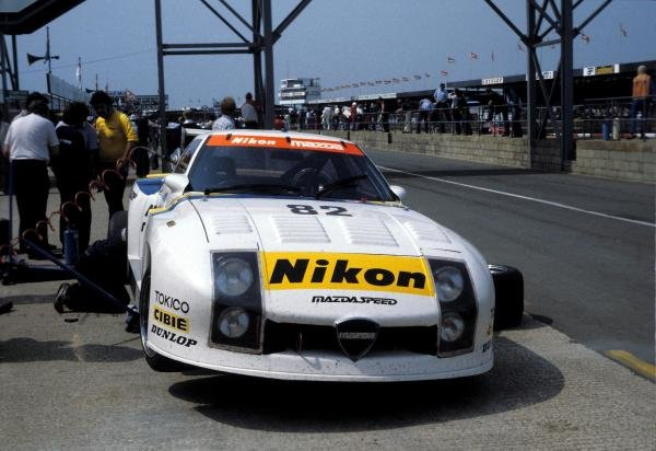 The Mazda RX-7 254i driven by Yojiro Terada (JPN), Tom Walkinshaw (GBR) and Pete Lovett (GBR) retired after 25 laps. World Sports Prototype Championship, Rd2, Silverstone 6 Hours, England, 16 May 1982.