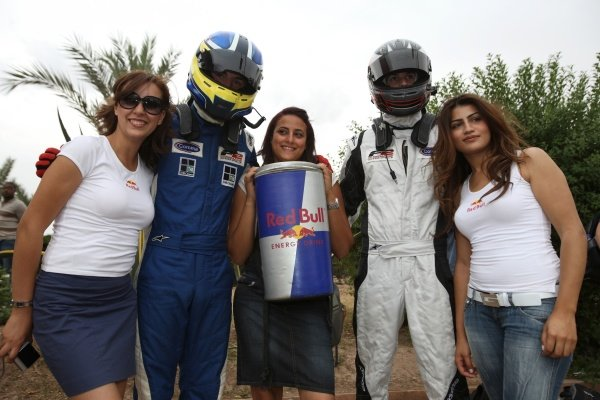 (L to R): Jack Clarke (GBR) and Will Bratt (GBR) with the Red Bull girls. FIA Formula Two Championship, Rd2,  Marrakech, Morocco. Thursday 29 April 2010