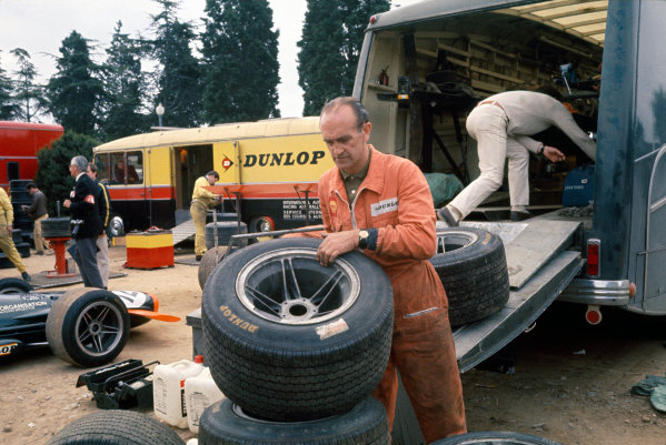 Montjuich Park, Spain. 4 May 1969.B.R.M. mechanics unpack the tyre transporter, atmosphere.World Copyright: LAT Photographic.Ref:  69ESP55