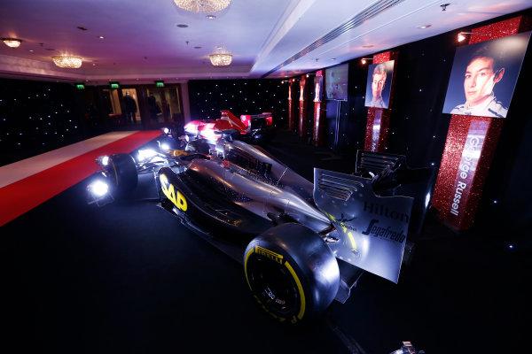 2014 Autosport Awards. Grosvenor House Hotel, Park Lane, London. Sunday 7 December 2014. McLaren F1 car and MSV Formula 2 car. World Copyright: Sam Bloxham/LAT Photographic. ref: Digital Image _14P3458