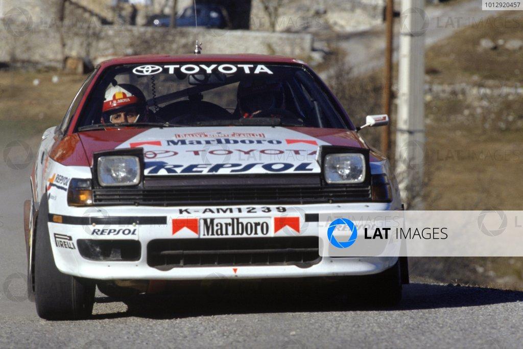 1991 World Rally Championship.Monte Carlo Rally, Monaco. 24-30 January 1991.Carlos Sainz/Luis Moya (Toyota Celica GT4), 1st position.World Copyright: LAT PhotographicRef: 35mm transparency 91RALLY01