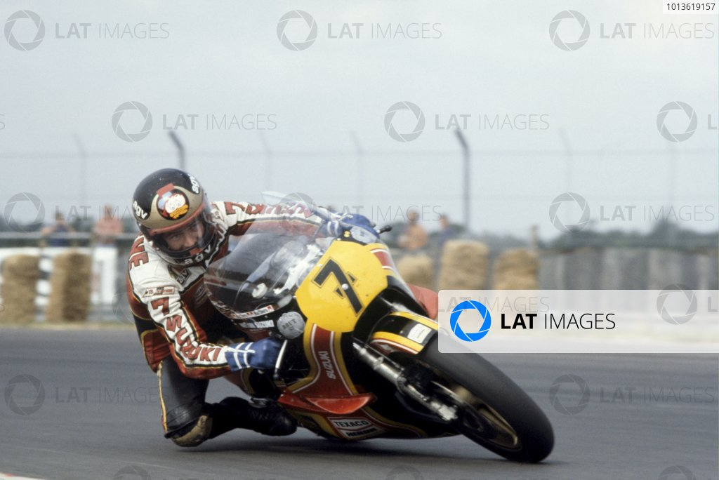 British Grand Prix.Silverstone, England.11-12 August 1979.Barry Sheene (Team Heron/Suzuki RG500) 2nd position, action. Ref-SHEENE 04.World Copyright - LAT Photographic