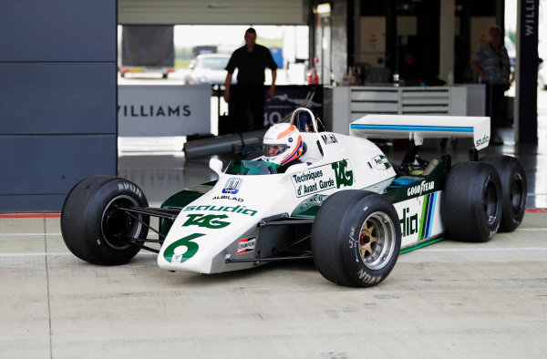 Williams 40 Event Silverstone, Northants, UK Friday 2 June 2017. Marin Brundle tests the six-wheeled FW08. World Copyright: Zak Mauger/LAT Images ref: Digital Image _54I0348