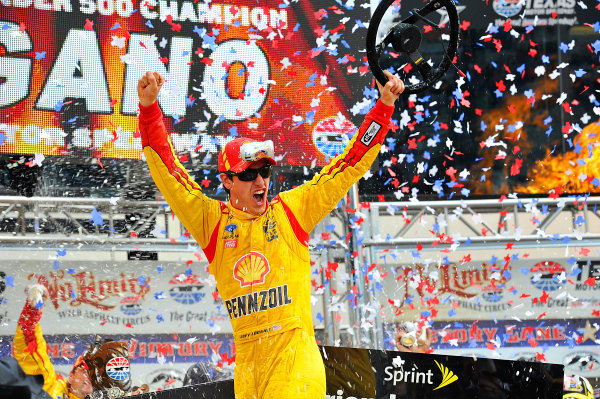 4-6 April, 2014, Fort Worth, Texas USA Joey Logano celebrates in victory lane. © 2014, Jennifer Coleman LAT Photo USA