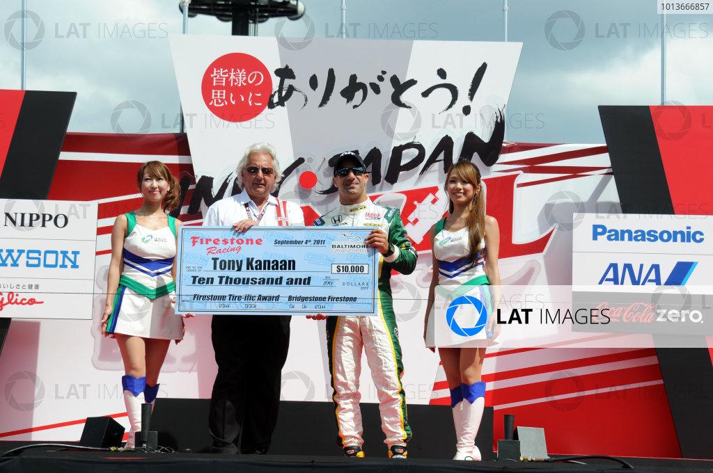 15-18 September, 2011, Twin Ring Motegi JapanTony Kanaan receives the Firestone Tire-ific Award.(c)2011, Paul WebbLAT Photo USA