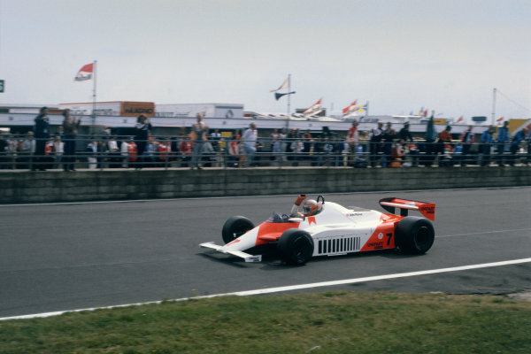 Silverstone, Great Britain. 16-18 July 1981.John Watson (McLaren MP4/1-Ford Cosworth), 1st position, action. World Copyright: LAT PhotographicRef: 81GB