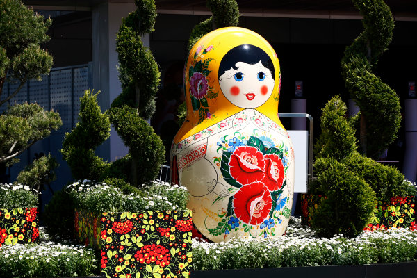 Sochi Autodrom, Sochi, Russia. Friday 28 April 2017. A sculpture of a giant Russian matryoshka doll, in a flower bed in the paddock. World Copyright: Andy Hone/LAT Images ref: Digital Image _ONZ9423