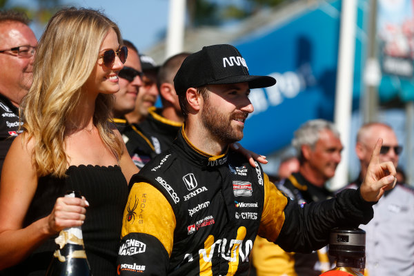2017 Verizon IndyCar Series Toyota Grand Prix of Long Beach Streets of Long Beach, CA USA Sunday 9 April 2017 James Hinchcliffe celebrates on the podium World Copyright: Phillip Abbott/LAT Images ref: Digital Image lat_abbott_lbgp_0417_15114