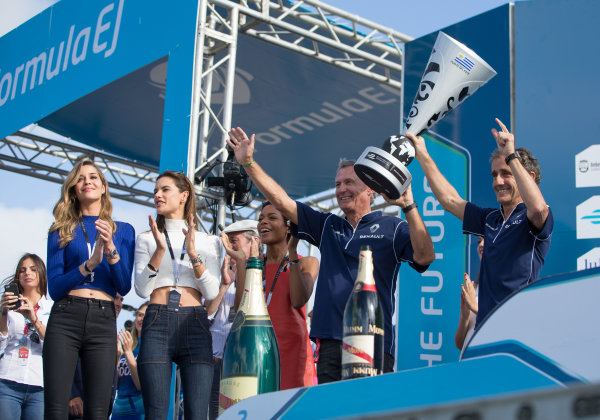 2015/2016 FIA Formula E Championship. Punta del Este ePrix, Punta del Este, Uruguay. Saturday 19 December 2015. Alain Prost on the podium. Photo: Jed Leicester/LAT/Formula E ref: Digital Image _L1_5566